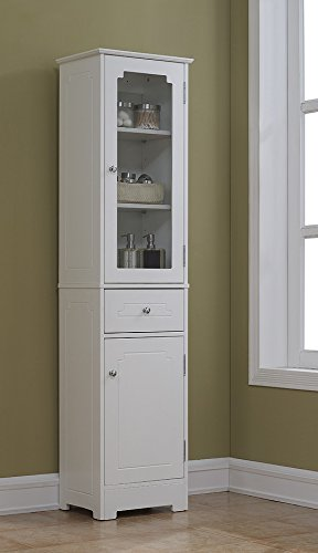 RunFine RFBW01012 Linen Tower, Glass Door with 2 Adjustable Shelves, 1 Drawer with Wood Door Including 1 Adjustable Shelf and Chrome Hardware by RunFine (Image #1)