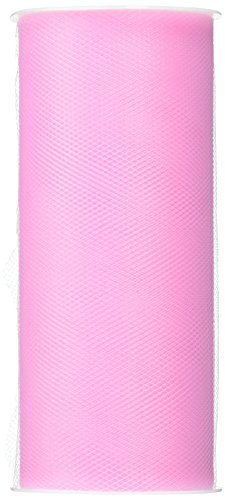 BBCrafts Pink Polyester Tulle Roll 6 inch 25 Yards -