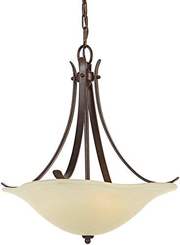 18 Light Foyer Pendants - Feiss F2045/3GBZ Morningside Glass Uplight Bowl Pendant Lighting, Bronze, 3-Light (18