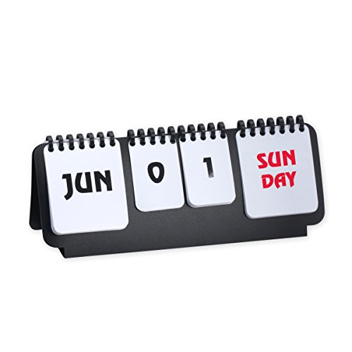 Marketing Innovations Intl Flip Chart Perpetual Calendar Desk Accessory Black/White Color