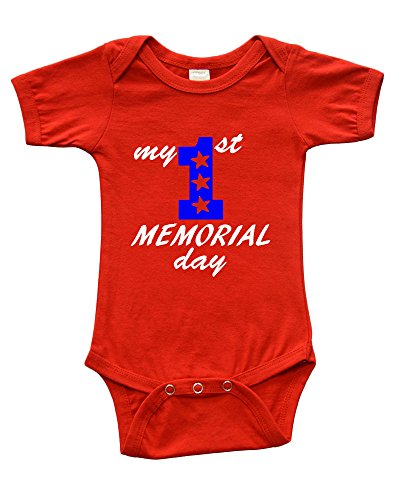 Short Sleeve Onesie w/My 1st Memorial Day, Red, 6-12m