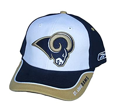 St. Louis / Los Angeles Rams Velcro Adjustable One Size Fits All NFL Authentic Players On-Field Sideline Navy / Gold / White Hat Cap - OSFA