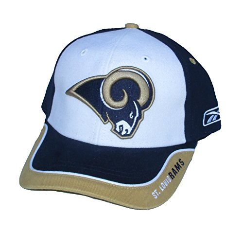 St. Louis / Los Angeles Rams Velcro Adjustable One Size Fits All NFL Authentic Players On-Field Sideline Navy / Gold / White Hat Cap - OSFA (Player Nfl Reebok Sideline)