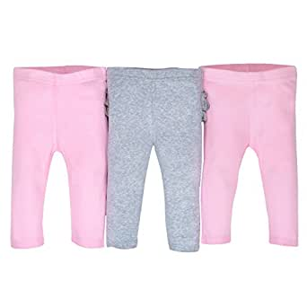 Gerber Baby Girls 3 Pack Organic Modern Fit Active Pant, Gray/Light Pink, Newborn