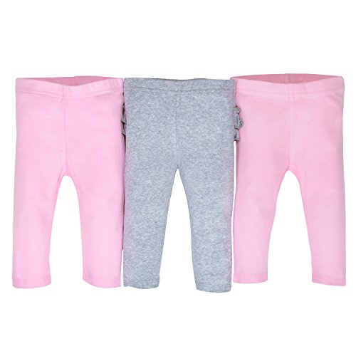 Gerber Baby Girls' 3-Pack Organic Pant, Gray/Light Pink, 3-6 Months