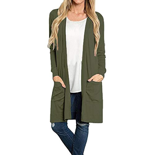 GOVOW Lightweight Kimono Cardigan for Women Clearance Sale Long Sleeve Open Front Loose Pocket -