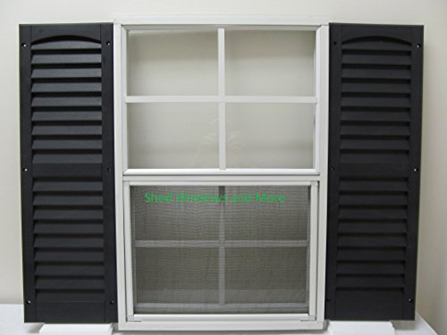 Shed Window and Shutters (Pair) 18'' X 27'' White J-channel Mount, Storage Shed, Playhouse (White) by Shed Windows and More