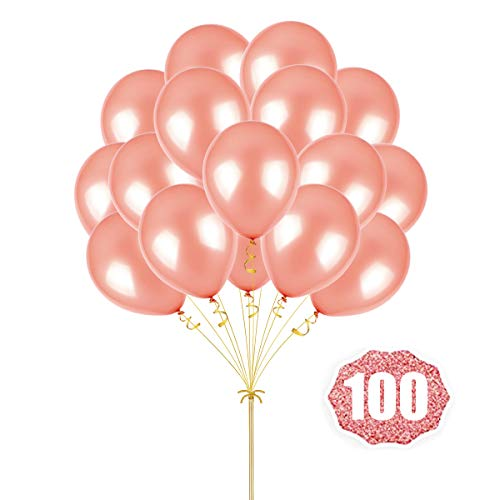 Rose Gold Balloons Hovebeaty 12 Inches thicken Latex Metallic Rose Golden Balloons 100 Pack for Wedding Party Baby Shower Christmas Birthday Carnival Party Decoration Supplies