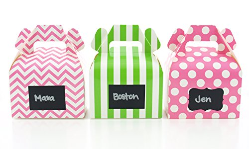 Watermelon Candy Boxes & Black Label Chalkboard Vinyl Stickers (36 Pack) - Summer Watermelon Party Favor Boxes, Create Custom Stickers on Birthday or Wedding Favors, Watermelon Party Treat Gable Boxes Labels Square Favor Tins