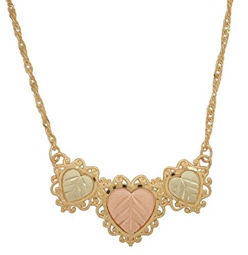Triple Heart Necklace, 10k Yellow Gold, 12k Green and Rose Gold Black Hills Gold Motif, 18'' by Black Hills Gold Jewelry