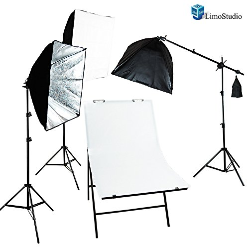 LimoStudio Photography Photo Studio Foldable Photo Shooting Table with Cube Softbox LED Continuous Lighting Boom Stand Kit , AGG1676 by LimoStudio