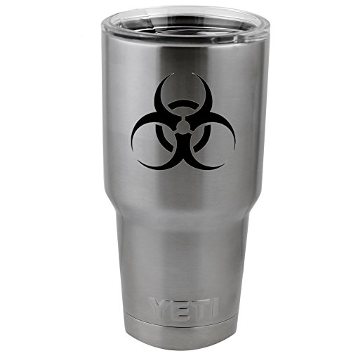 "Poison Hazard Danger Symbol Logo Vinyl Sticker Decal for Yeti Mug Cup Thermos Pint Glass (4"" Wide - DECAL ONLY, NO CUP)"