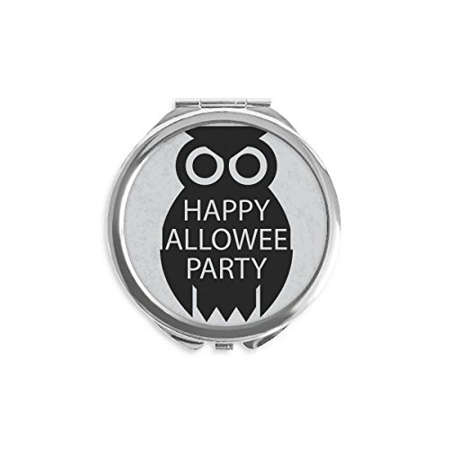 Halloween Simple Black Cartoon Owl Mirror Round Portable Hand Pocket Makeup -
