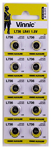 10 x Vinnic Size LR41 392 AG3 L736 SR41W Alkaline Watch Battery
