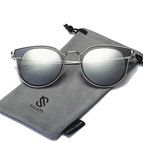 SOJOS Fashion Polarized Sunglasses for Women UV400 Mirrored Lens SJ1057 with Silver Frame/Grey&Silver Mirrored Polarized Lens (Nickel Silver Sunglass)