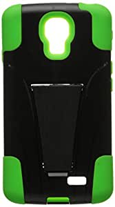 Zizo LG Access LTE L31/LG F70- PC and Silicon Hybrid Cover with KickStand - Retail Packaging - Neon Green