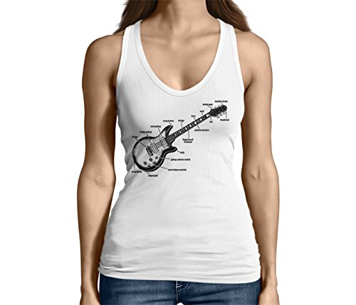 Junior's Anatomy of A Guitar Tank Top (White, Large) -