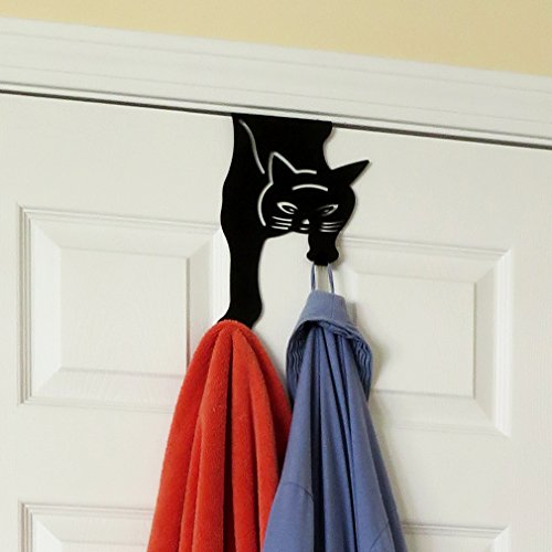 Cat Towel Holder - Evelots Over the Door Hanger-Kitty Cat-2 Hooks-20 Pound ea.-No Tool-No Rust Iron