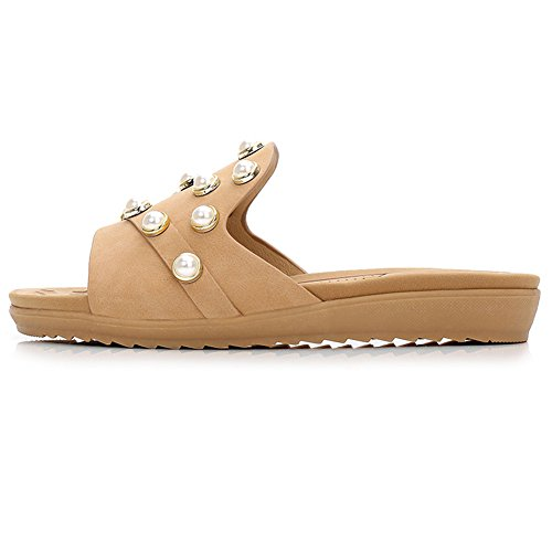 ANDAY Ladies Shiny Faux Pearl Decoration Open Toe Slippers Summer Beach Platform Sandals apricot Qo2QKV