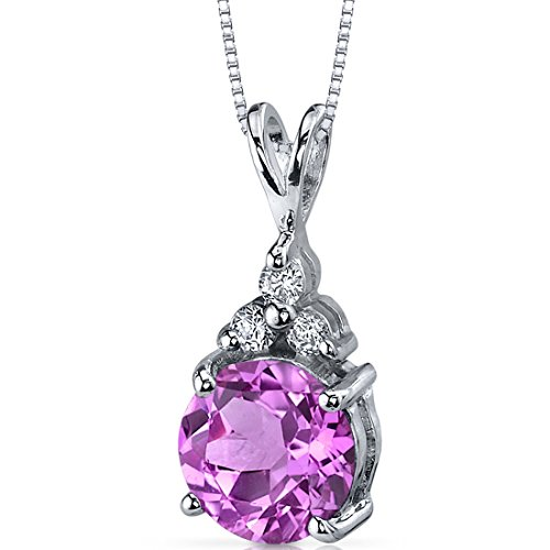 Refined Class 2.50 carats Round Shape Sterling Silver Rhodium Nickel Finish Created Pink Sapphire Pendant