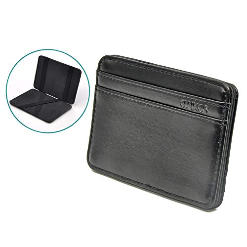 Patty Both Slim Pocket Wallet with Magic Money Clip & Card Holders (Black) (Magic Money Clip)
