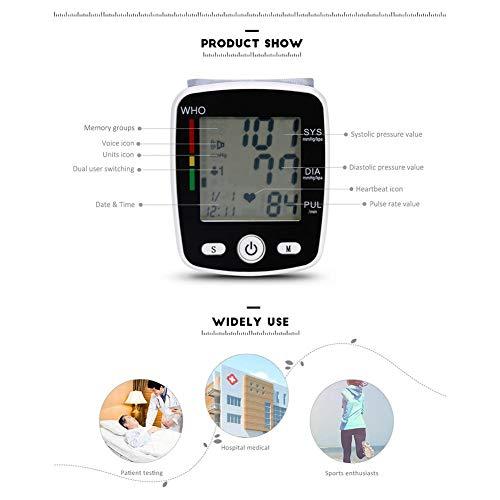 78 65 28 mm en inglés, tensiómetro de muñeca con pantalla digital LCD, luces de control multicolor, medición de frecuencia cardíaca, función de radio de voz ...