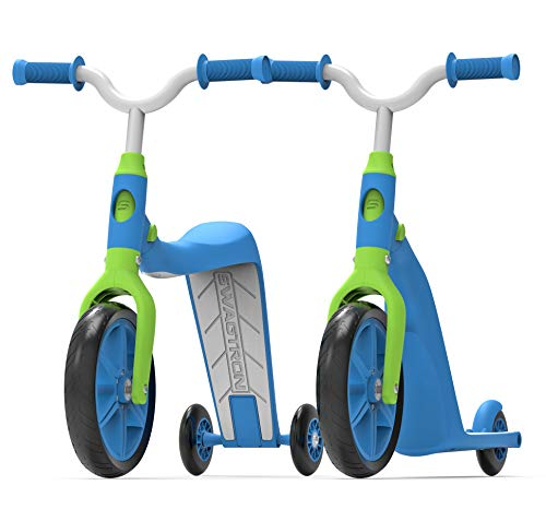 Image of the Swagtron K6 Toddler Scooter, Convertible 4-in-1 Ride-On Balance Trike & Training Bike for 2-5 Year Olds - ASTM F963 Certified (Blue)...