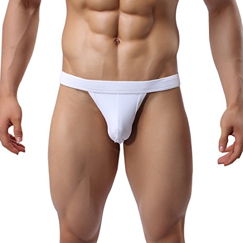Lycra Spandex Mens Briefs (G.romtic Big Size Backless Mens Underwear Spandex Jockstrap Briefs Pouch Thong (XL, White))