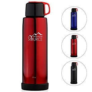 Mountain Source Stainless Steel Water Bottle Thermos, Best Insulated Water Bottle with 2 Leak-Proof Caps, 27oz - 3 Colors, Double Walled Vacuum Construction - Perfect for Hot and Cold Drinks