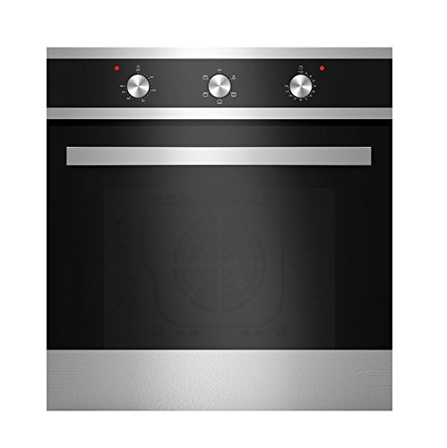Empava KQP65A-16-220V Tempered Glass Electric Built-In Single Wall Oven, Black/Silver (Wall Oven Gas 24 Inch)