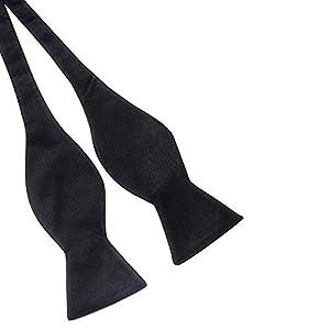 Gilroy Mens Solid Color Plain Satin Self Tie Bow Ties Wedding Neckties