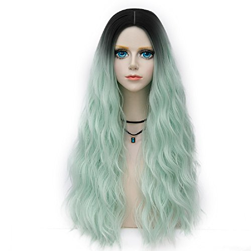 Probeauty Forest Lady Collection Ombre Dark Root Long Curly Women Lolita Anime Cosplay Wig + Wig Cap (70cm, Neon Green F18) (Long Neon Wig)