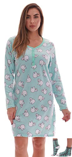 Just Love Henley Night Shirt with Socks for Women 6731-10304-3X