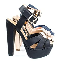 Stand tall and proud with these towering high platform sandal featuring a super high chunky block heel with a thick platform, the platform help decreased thee stress on your foot by decreasing the angle of the heel. The front is covered in th...