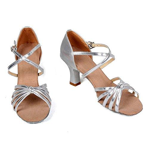 M Silver WZJCL 6 Ballroom Model 5 Latin B Satin Salsa Womens Performance Roymall Tango Dance Shoes US Shoes 7 FTHWwq5