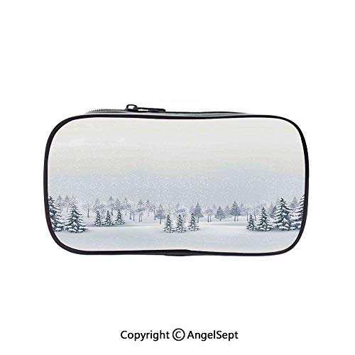 Two Big Pockets for Executive Fountain Pen,Winter Scene in a Park with Trees Foggy Blurry Weather Ice Cold Frost Image White 5.1inches,Multi-Functional 72 Slots Colored Pencil Case