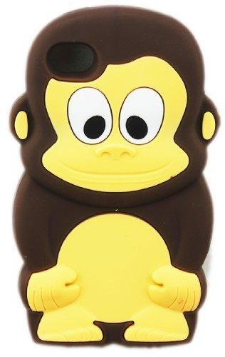 Apple iPhone 4/4S Affe Monkey BRAUN Design Schutz-Hülle Silikon Soft Case Etui thematys®