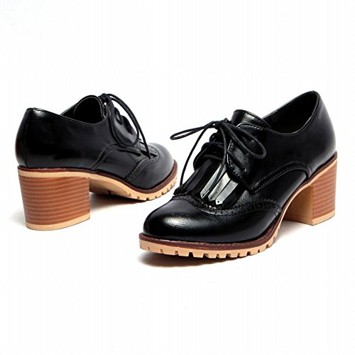 Womens Shoes Mid Chic up Oxfords Carol Comfort Tassels Black Lace Heel Chunky Shoes qP8nxCOwE