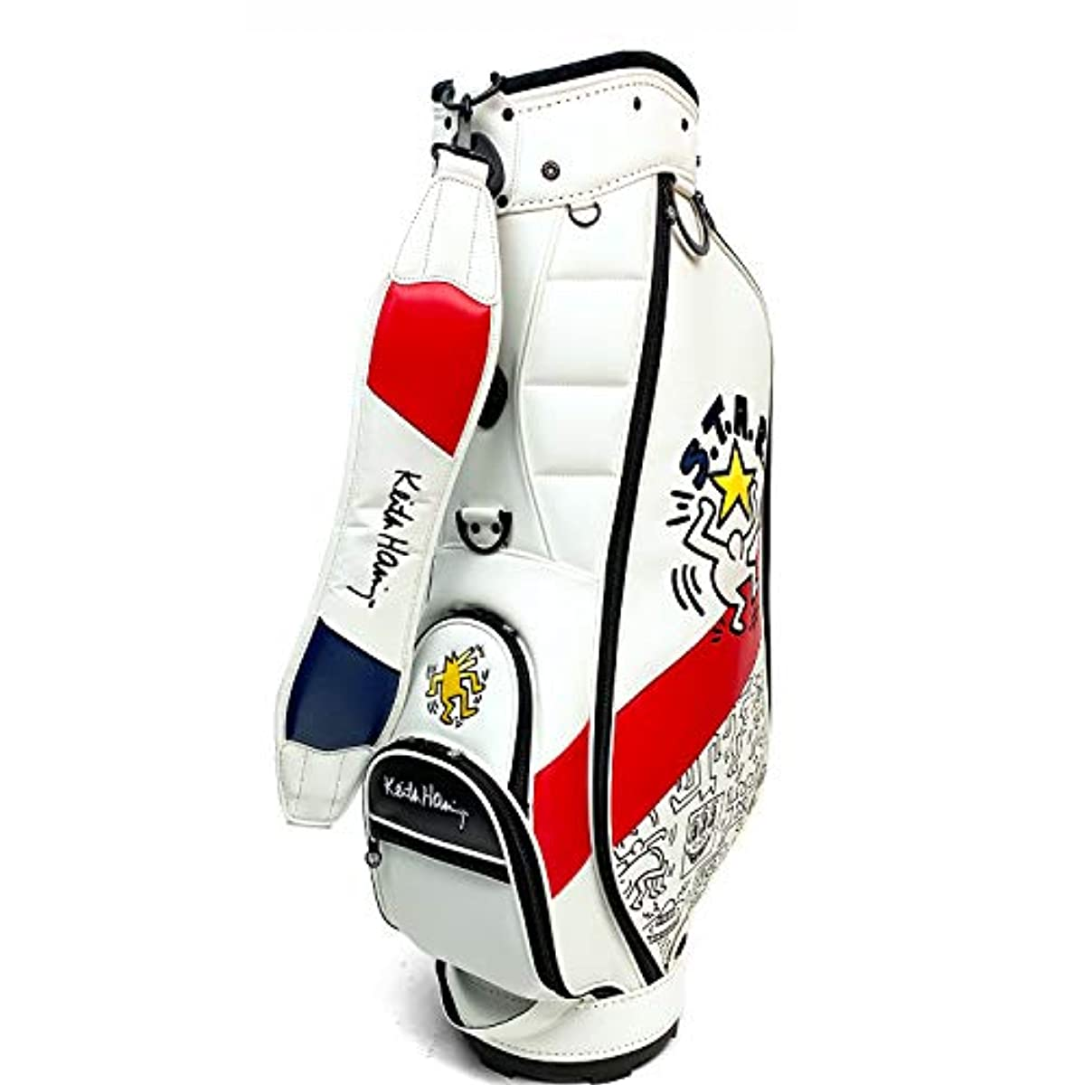 [해외] 키스해링 골프 카트 캐디백 AMERICAN FLAG × PATTERN 화이트 9인치(47인치 대응) KHCB-06
