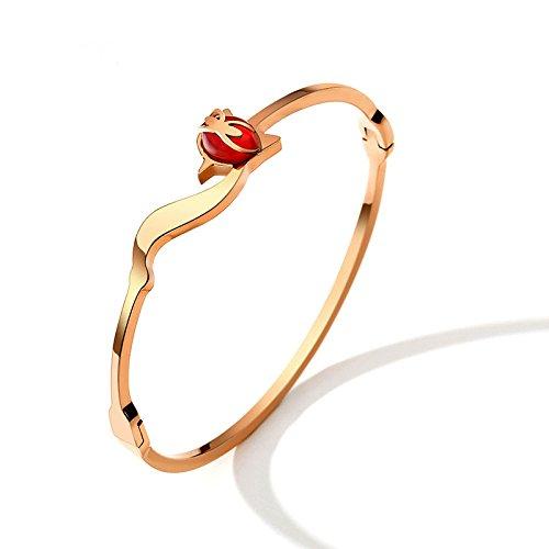 (GAOQQ Lovely Bracelet Red Fox Titanium Steel Plated 18K Rose Gold Bracelet Fashionable Bracelet)