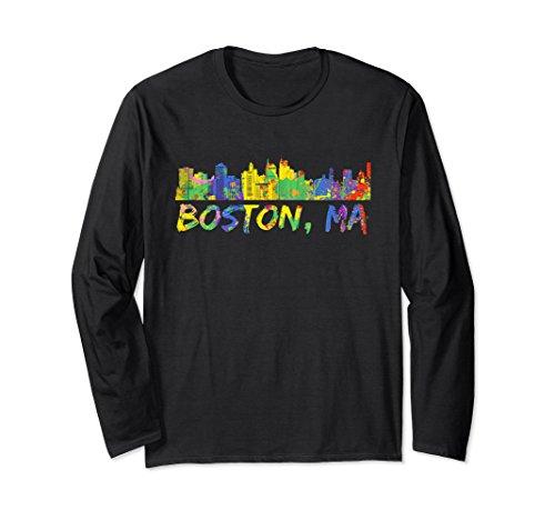 Unisex Boston Massachusetts Skyline Paint Splash Long Sleeve Shirt 2XL Black Boston Design Studio