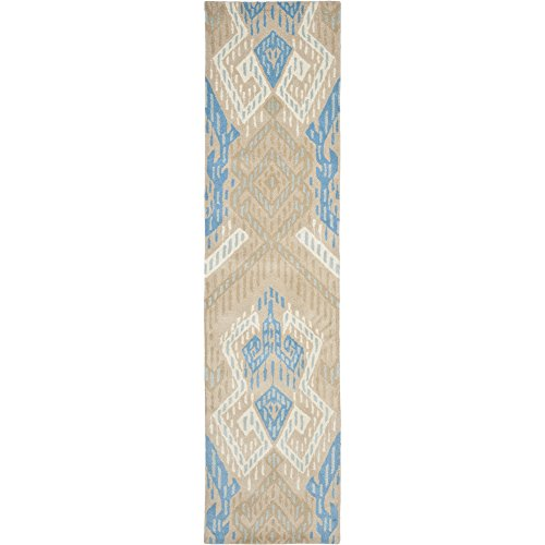 Safavieh Wyndham Collection WYD373C Handmade Blue and Ivory Wool Runner, 2 feet 3 inches by 9 feet (2'3'' x 9') by Safavieh