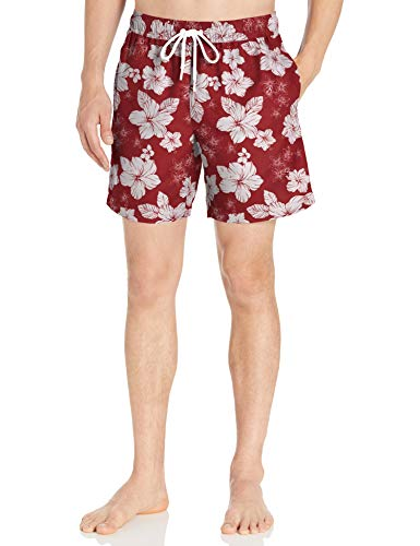 Amazon Essentials Herren Badehose 17,8 cm, Red Hibiscus Print, US S (EU S)