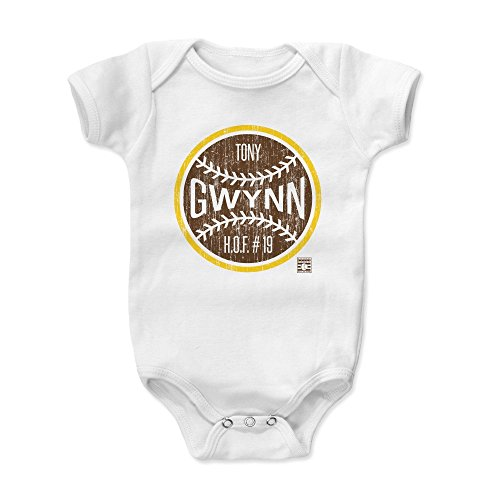 500 LEVEL Tony Gwynn Baby Clothes, Onesie, Creeper, Bodysuit 12-18 Months White - Vintage San Diego Baseball Baby Clothes - Tony Gwynn Ball -