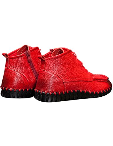 height Zoulee Increasing Leather Lace Toe Round Shoes Red Women's Wedges Shoes q1ZqrY