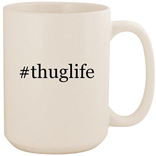 #thuglife - White Hashtag 15oz Ceramic Coffee Mug Cup (4 Cases Tupac Ipod)