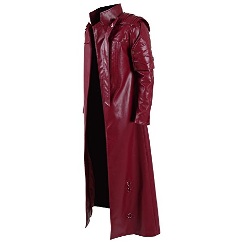 Men's Red PU Leather Trench Coat Cospaly Costume Halloween Outfit Uniform (US Men-L, Red) by FANER (Image #1)