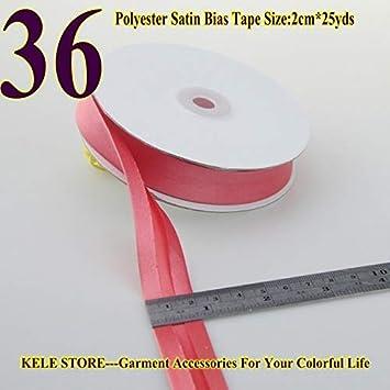 Polyester Satin Bias Binding Tape,bias Binding Size:20mm,3//425yds,fold Tape for DIY Sewing Garment Accessories Color: 32 Dark Purple DalaB