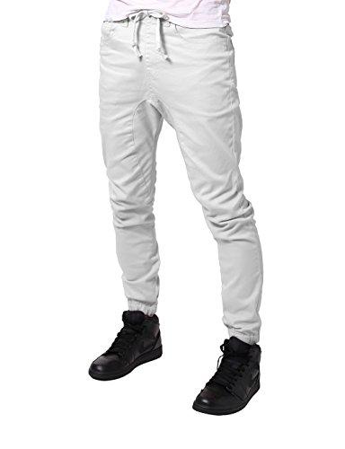 (JD Apparel Mens Slim Fit Drawstring Harem Joggers Fashion Pants M White)