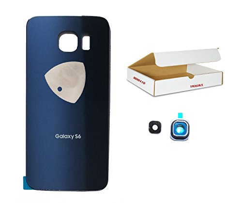 (md0410) Black Sapphire Blue back door rear housing camera lens cover Compatible Galaxy S6 G920 replacement + Adhesive + Opening Tool
